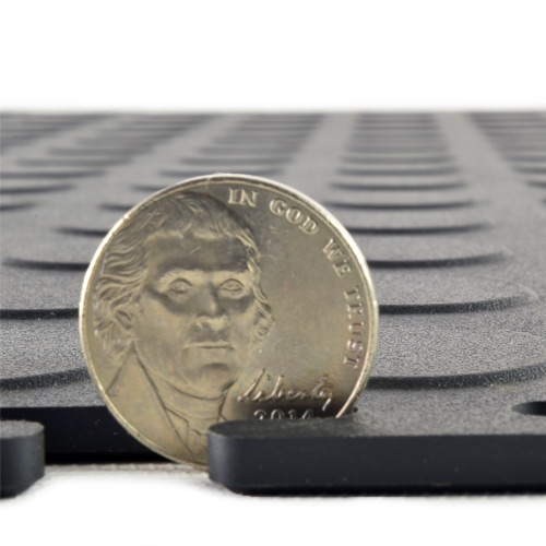 Coin Top Home Floor Tile Black or Dark Gray 8 tiles thick.