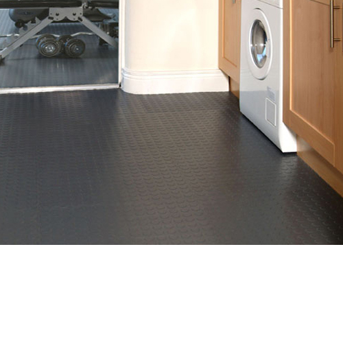 Coin Top Floor Tile Black or Dark Gray 4.5 mm 8 tiles wash room floor.