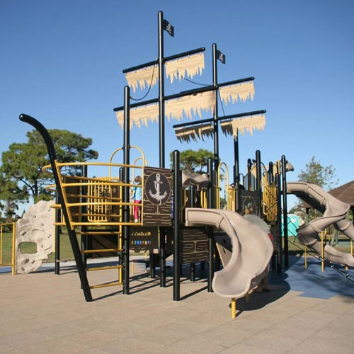 Playground Flooring Blue Sky 2ft x 2ft x 2.75in 50/50 EPDM showing pirate ship playground.
