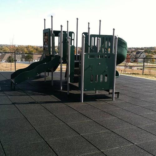 Playground Flooring Blue Sky 2ft x 2ft x 2.75in 50/50 EPDM showing black tile playground.