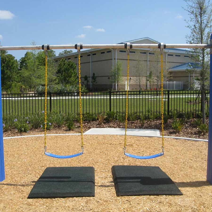 Blue Sky Swing Mats 2ft x 4ft x 1in playgroung mats showing two swings.