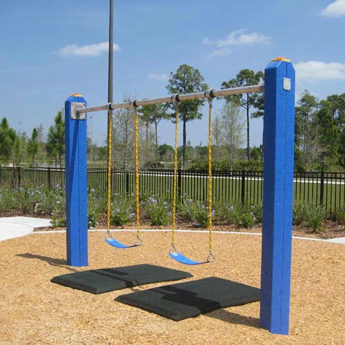 Blue Sky Swing Mats 2ft x 4ft x 1in playgroung mats showing swings.
