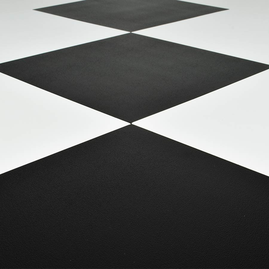 Vinyl Peel and Stick Black Floor Tile 12x12 In. 36 per Carton with white