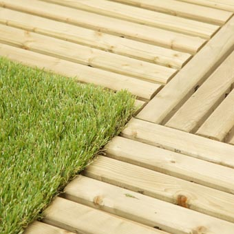 Outdoor Deck Turf Tile showing installation.
