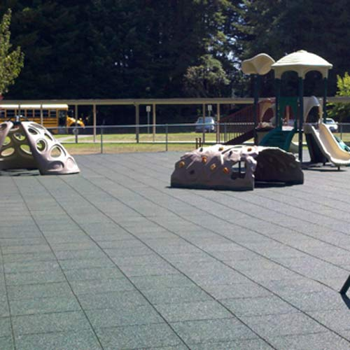 Playground Tiles provide more consistent protection than rubber crumbs and are more easily replaced than poured-in-place rubb