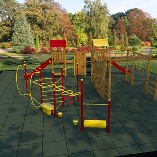 Measuring he distance from the ground to your equipment's highest platform will help you decide which playground tile is best