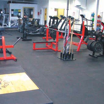 Rubber floor tiles and rolls are the most popular gym floor option.