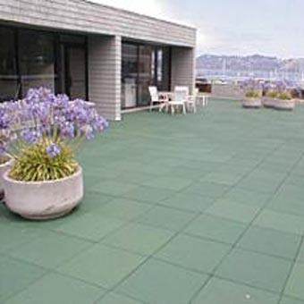 Outdoor patio tiles in backyard