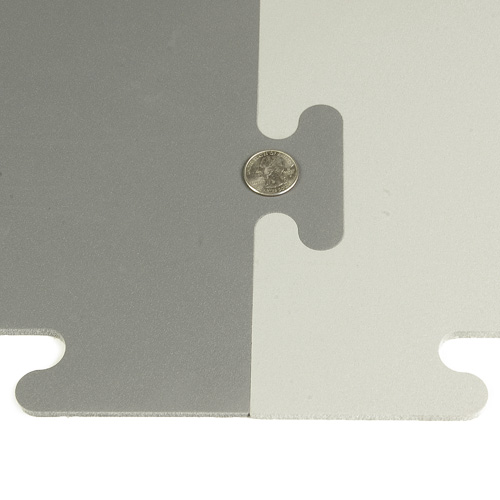 Protect All Interlocking Floor Tile Grays shows coin.