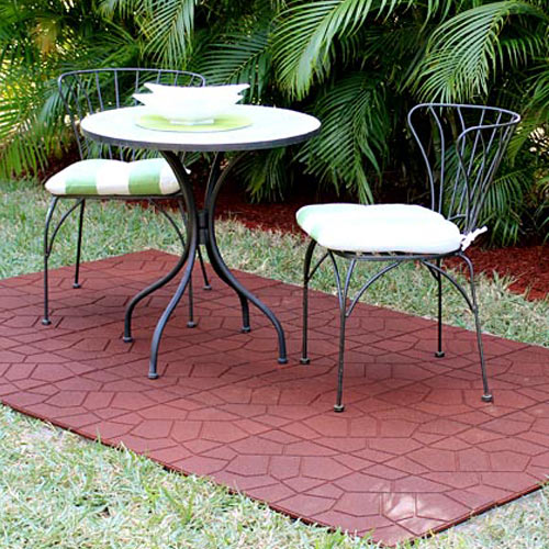 Backyard Patio Tiles :  Paver Tiles, Rubber Patio Tile for Outdoor, Brick Top Paver Tile