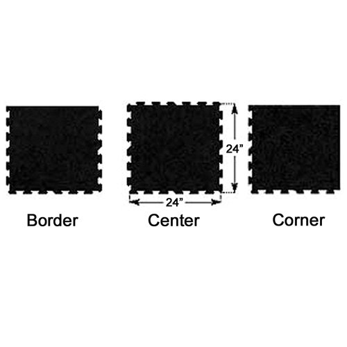 Puzzle Tile Interlocking Rubber - Black border center corner