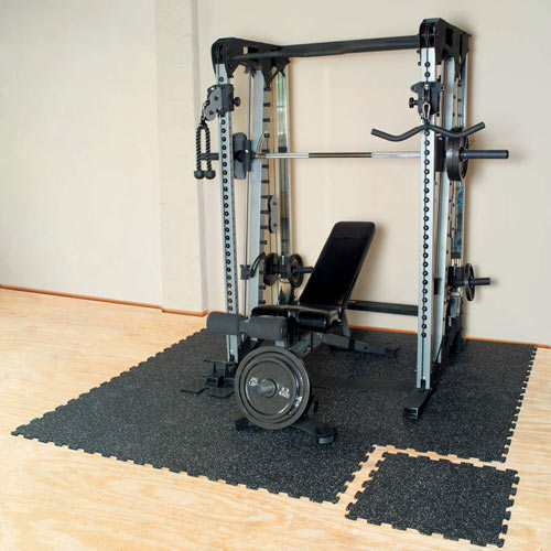 Puzzle Tile Interlocking Rubber - Black weight room floor