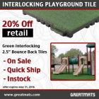 Interlocking Playground Tile BB 2.5 Inch Colors