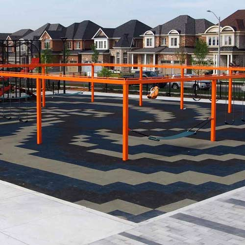 Sterling Playground Tile 2.25 Inch Blue/Gray/Brown Pattern.