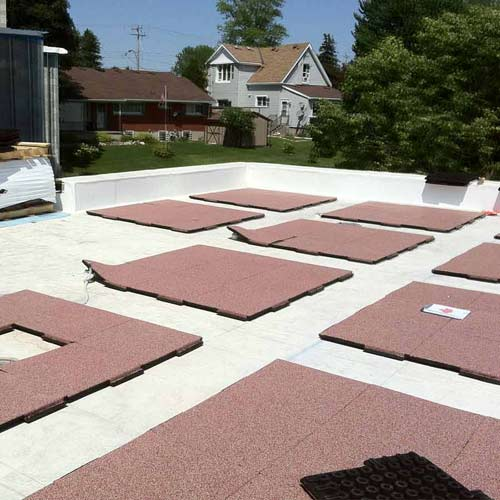 Sterling Rubber Patio Tile 2 Inch Blue Red Roof Install.