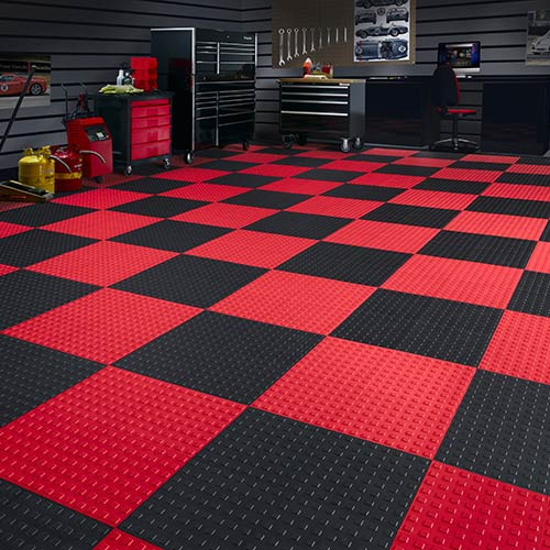 techfloor premium with traction top floor tile shown in a checker board pattern