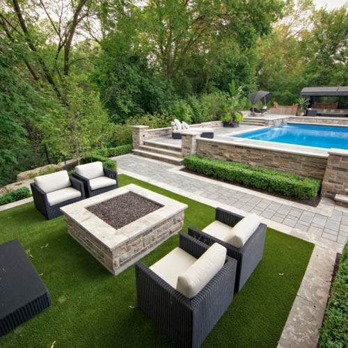 UltimateGreen Artificial Grass Turf pool area
