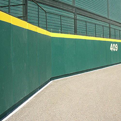 Outdoor Field Wall Padding with Z Clip and Graphics 3 ft x 4 ft green pad.