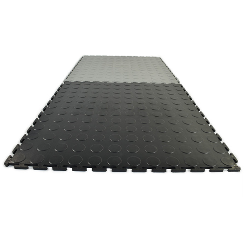 Warehouse Coin PVC Tile garage black and gray.