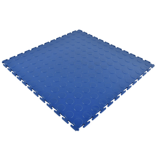 PVC Coin Tile Interlocking Color blue.
