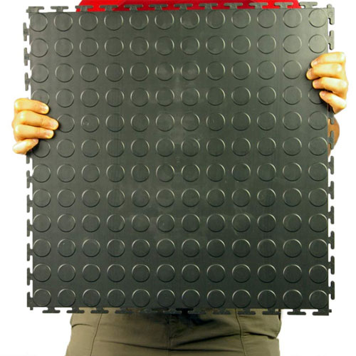Warehouse Floor Coin PVC Tile Black Ever holding tile.