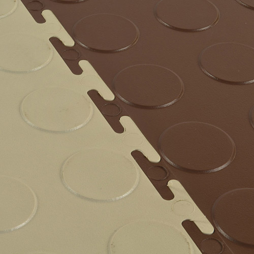 Warehouse Coin PVC Tile beige brown interlock.