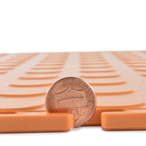 PVC Coin Tile Interlocking Colors Ever orange thickness.