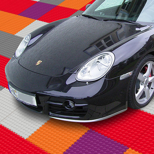 Warehouse Coin PVC Tile colors showing car.