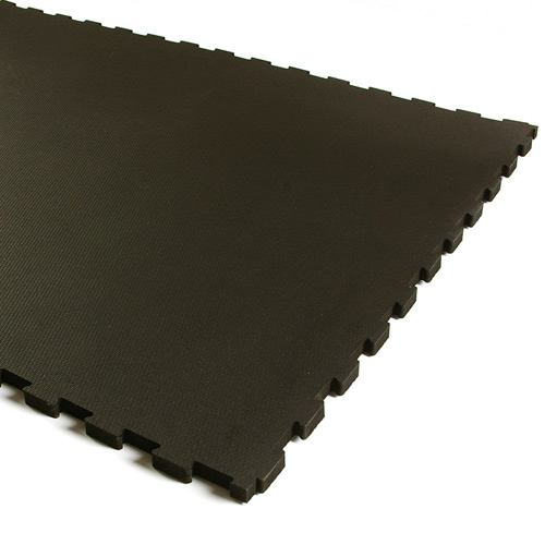 Weight Room Flooring 3/4 Inch Interlocking 2x2 ft black Tile.